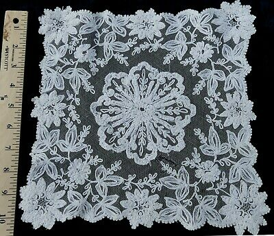 """Antique French Tambour square lace doily 10"""" x 10"""""""