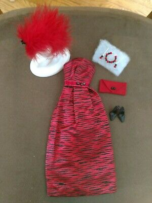 Barbie RED & BLACK SATIN GOWN MINT GORGEOUS!  FREE EXTRAS  XMAS SPECIAL!