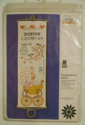 70's Vintage Cross Stitch Kit Bellrope NEW BABY Unworked Oehlenschlager 83770