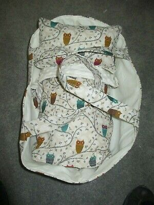Dolls Carry Cot/ Basket suitable Baby Born,Cabbage Patch,Miniland Dolls Owls