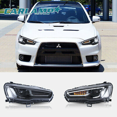 VLAND LED Headlights Blackout Audi Look For Mitsubishi Lancer / EVO X 2008-2017