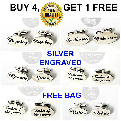 Silver- Engraved Custom Cufflinks Cufflink Gift Wedding Personalised Best Man uk