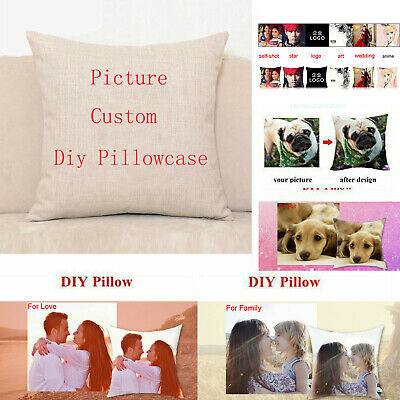 Personalised Printed Photo Pillow Case Custom Print Cover Birthday Gift Two Side