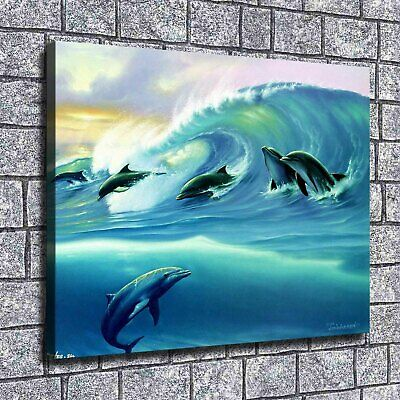 "12""x16""Wave dolphins Paintings HD Print on Canvas Home Decor Wall Art Pictures"