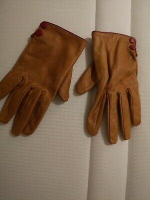 Topshop Gloves. Size Medium To size Large. Tan Brown leather. Red trimming. NEW.