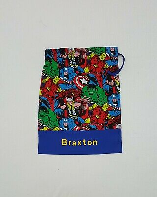 l$FREE NAME AVENGER SUPERHERO IRONMAN CAPT AMERICA PERSONALISED LIBRARY BAG FD*