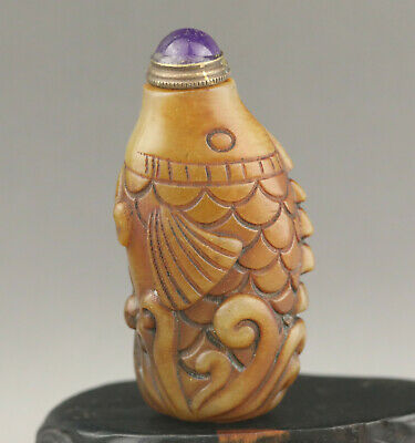 Chinese natural old natural jade hand-carved fish snuff bottle