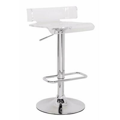 Smart Looking Adjustable Stool with Swivel, Clear & Chrome