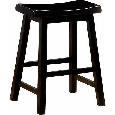 Wooden Casual Counter Height Stool, Dark Brown, Set of 2