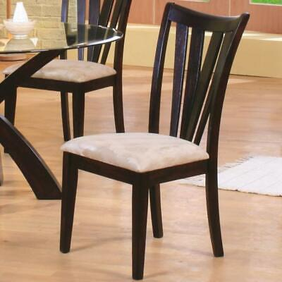 Wood & Fabric Dining Side Chair, Cream & Brown, Set of 2