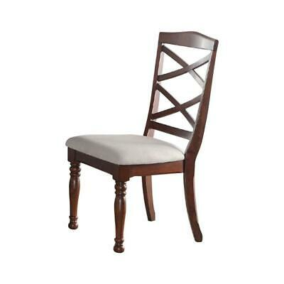 Rubber Wood Dining Chair With Designer Back, Set Of 2, Brown