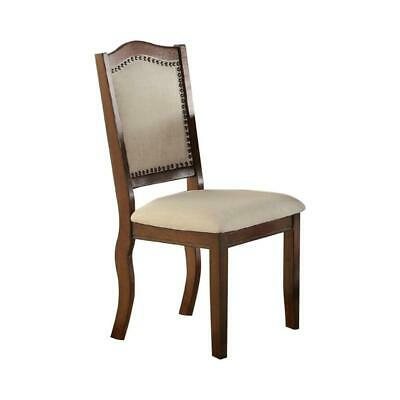 Rubber Wood Dining Chair, Set Of 2, Brown And Cream