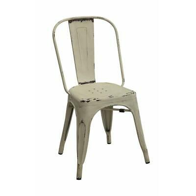 Metallic Chic Industrial Dining Chair, White, Set of 4