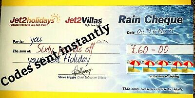 100 × NEW Jet2Holidays £60Rain Cheque voucher VALID UNTIL MARCH 2021