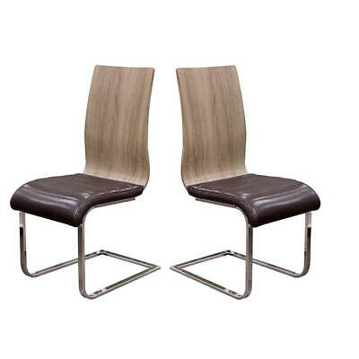 Leatherette Upholstered Dining Side Chairs with Wooden Back, Brown and...