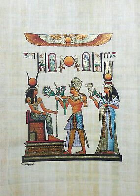 """Papyrus Hieroglyphics TUT Isis Wings Cleopatra Hand Painted 8""""X12"""" ( 20x30 cm )"""