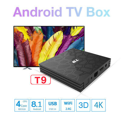 T9 Smart TV BOX 4+32GB Android 8.1 Media H.265 4K 3D Video 100Mbps WIFI Ethernet