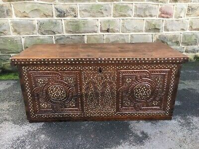 Early Anglo Indian Inlaid Coffer Chest Trunk Box
