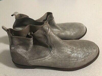 Zara Girls Silver Ankle Slip On Booties Boots Flats Size 37