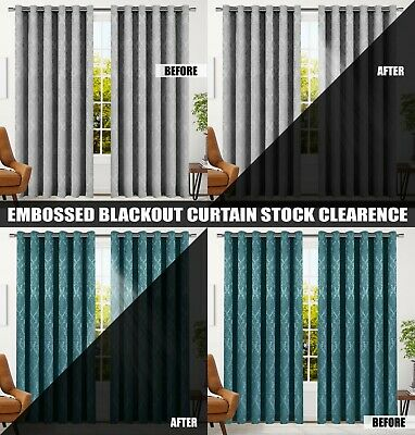 Thermal Blackout Curtains Ready Made Eyelet Ring Top OR Pencil Pleat & Tie Backs