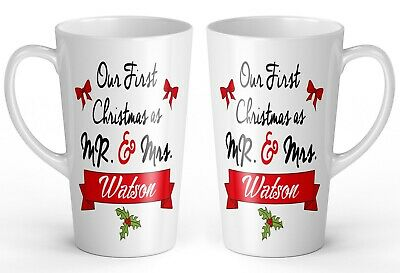 17oz Pair of Personalised 'Our First Christmas As Mr & Mrs' Novelty Latte Mugs