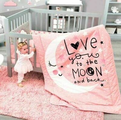 Moon And Stars Baby Girls Crib Bedding Set 100 Cotton