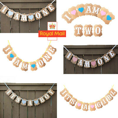 I AM ONE Bunting Garland Banner Girl & Boy Baby First Birthday Party Decoration