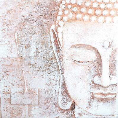 Arthouse Buddha Canvas Print 3D Wall Art Picture  Asia Oriental White Rose Gold