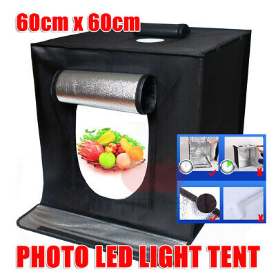 Portable Photo Studio Lighting Cube Tent Kit 60*60*60CM Light Box + 2x Backdrops