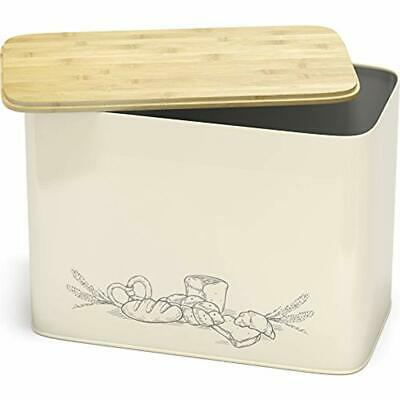 Bread Boxes Extra Large Space Saving Vertical With Eco Bamboo Cutting Board Lid