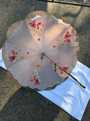 Vintage Niniche Womens Silk lined flower painted umbrella parasol made in France