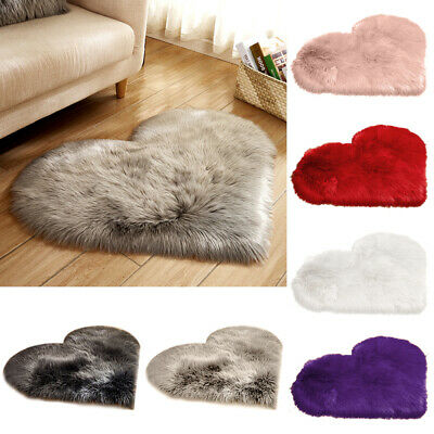 Heart Shaped Fluffy Rugs Anti-Skid Shaggy Area Rug Carpet Home Bedroom Floor Mat