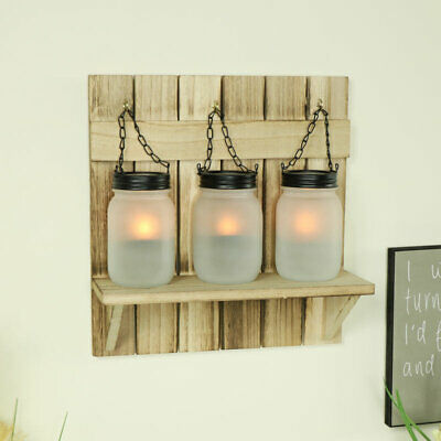 SET OF 2 RUSTIC WOOD GOTHIC WALL SCONCE LED CANDLE HOLDERS JEWELED CROSS 32CM