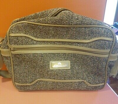 Vintage 1980s Jordache Brown Tweed Travel Case Carry On Bag With Strap