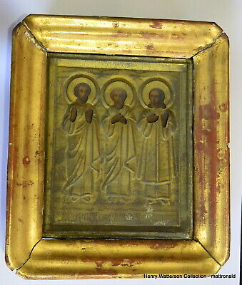 Antique  Russian Hand Painted Patron Saints Icon in Brass Riza