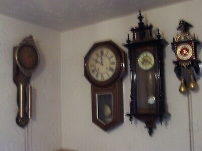 Beautiful Collection Of Antique Time And Strike 8 Day Wall Clocks,.All Working..