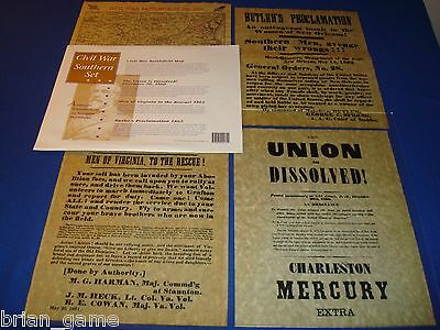 Civil War Documents*, 4 Southern, Map, Butlers Proclamation,  Reproductions
