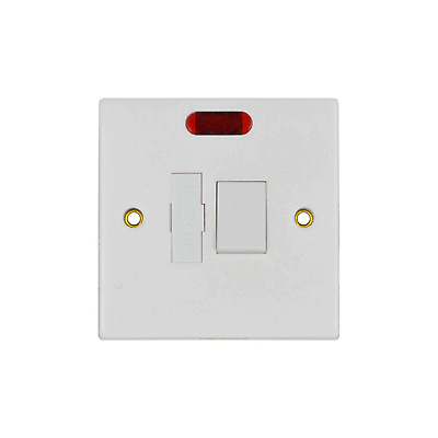 Single Gang 13A Double Pole Fused Spur Switch with Neon – White Status