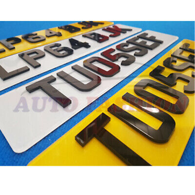 GLOSS BLACK 4D ACRYLIC NUMBER PLATES COLOURED BACKGROUND RED BLUE OR LIME SHOW