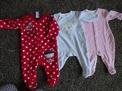 Baby Girls Warm Winter Clothes 0-3 Months - Thick Cosy All In One Babygrows X2