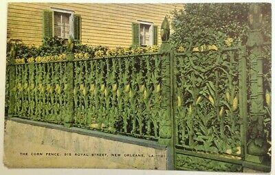 New Orleans LA Postcard Early 1900s Royal St. Corn Fence Wrought Iron