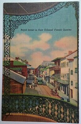 New Orleans LA Postcard Early 1900s Court Two Sisters Royal St Trolley Cars Iron