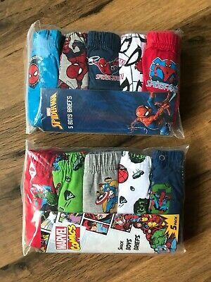 5 x Pairs Boys Spider-Man Marvel Pants Briefs Baby Age 1 - 9 Years