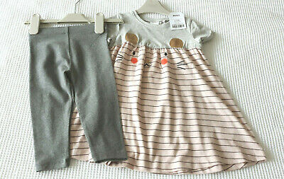 Next Baby Girls Pink Mouse Dress & Grey Leggings Age 9-12 Months BNWT