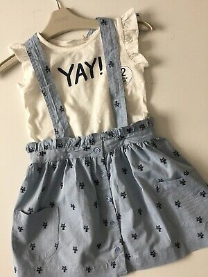 New NEXT Girl Summer Outfit Set Top And Dungaree Dress Age 2-3 Years