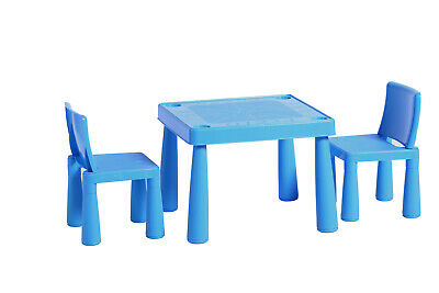 ABC Alphabet Childrens Blue Plastic Table and 2 Chairs Set Kids Toddlers Childs