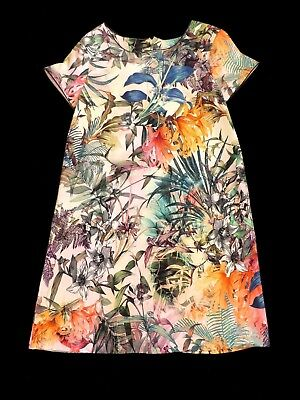 Next Girls Cute Multi Tropical floral Jungle print Cotton Dress age 12 years
