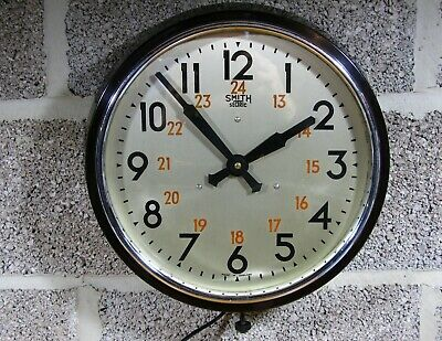 Imposing Smiths bakelite cased wall clock, rare silver dial, 24 hour numerals