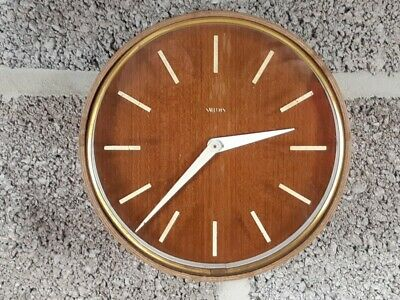 Smiiths mid century modern wall clock with veneered case and dial