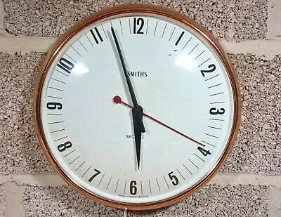Smiths Sectric wall clock with white dial in copper anodised case